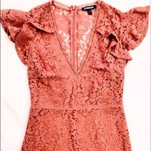 Express Rose Midi Lace Dress